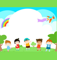 blank template happy kids poster design vector image vector image