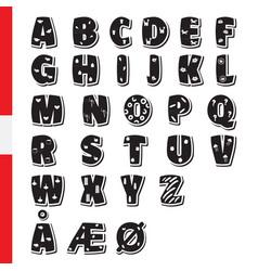 cute funny childish danish alphabet font vector image vector image