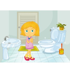 Girl in the bathroom vector image vector image
