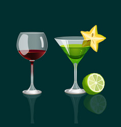glass of red wine and cocktail drink with vector image vector image