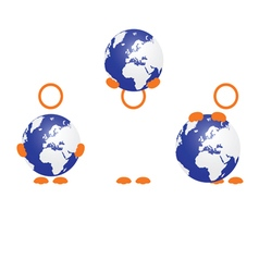 planet earth with people icon vector image vector image