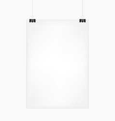 white vertical poster template hanging on clips vector image