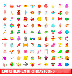 100 children birthday icons set cartoon style vector