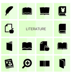 14 literature icons vector image