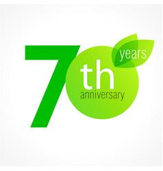 70 anniversary green logo vector
