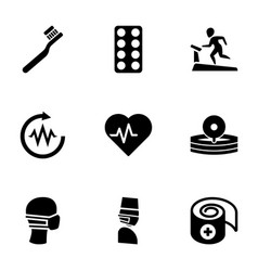 9 healthcare icons vector image