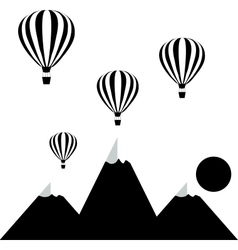 Aerostats flying in the sky over the mountains at vector