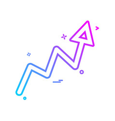 arrow graph progress up icon design vector image
