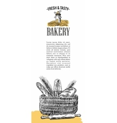 Bakery Mill wheat ears rolls pastries bread vector image