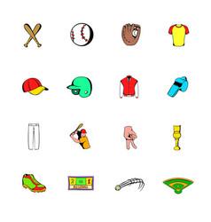 Baseball icons set cartoon vector