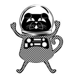 black cat astronaut vector image