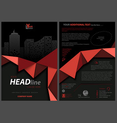 black flyer template with red geometric ribbon vector image