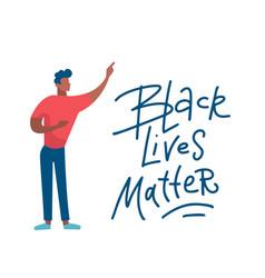 black lives matter men protest emotions vector image