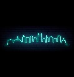 Blue neon skyline nashville bright nashville vector
