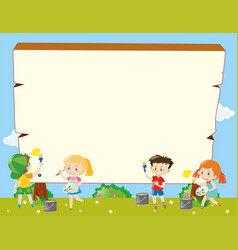 Border template with kids painting vector