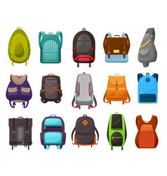 Boys school bag and backpack icons set vector