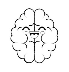 Brain cartoon smiley vector