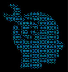 Brain service wrench mosaic icon of halftone vector