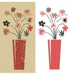 Bunch of flowers in red and black grunge and plain vector
