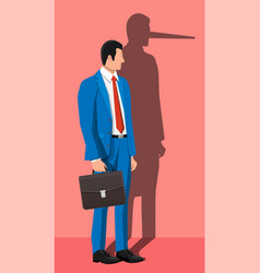 businessman with long nose shadow on wall vector image