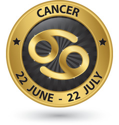Cancer zodiac gold sign cancer symbol vector