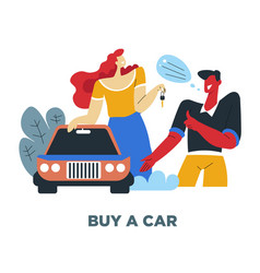 car and couple human need couple and vehicle vector image