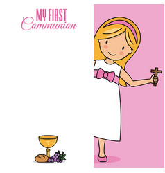 Card my first communion girl with a cross vector