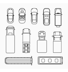 Cars thin line icons top view vector