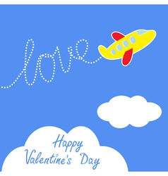 Cartoon helicopter dash word love valentines day vector