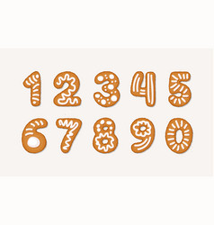 Cartoon set of gingerbread arabic numbers vector