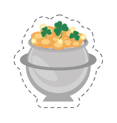 cartoon steel cauldron gold coin st patricks day vector image