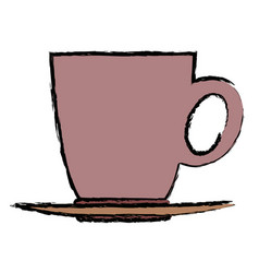 Ceramic cup of coffee plate handle beverage vector