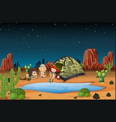 Children camping in the desert vector