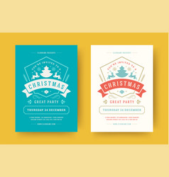 christmas party flyer event vintage typography vector image