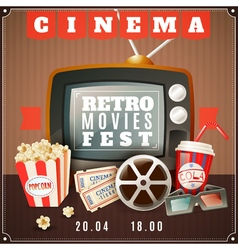 Cinema Retro Movies Festival Announcement Poster vector image