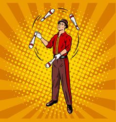 Circus juggler pop art style vector