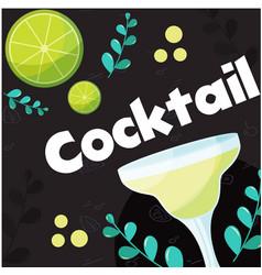 cocktail lemon glass of cocktail background vector image