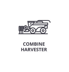 combine harvester line icon outline sign linear vector image