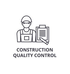 Construction quality control line icon vector