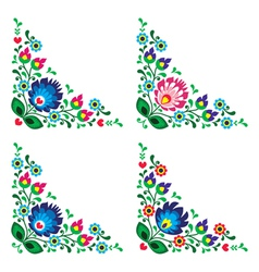 Corner border Polish floral folk pattern vector