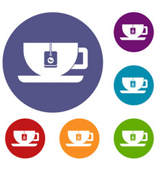 Cup of tea with tea bag icons set vector