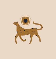 cute boho leopard girl nursery childish style vector image