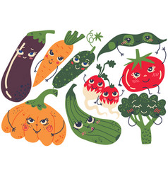 cute funny vegetables with smiling faces set vector image