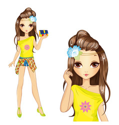 Cute Girl In Yellow Blouse vector