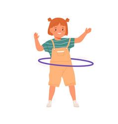 Cute girl twirling hula hoop around waist little vector