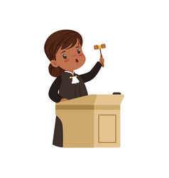 Cute judge girl cartoon character standing at vector