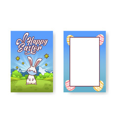 cute white bunny wearing a face mask is standing vector image