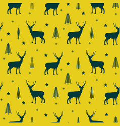 deer in a winter forest yellow seamless vector image