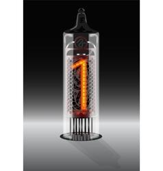 Digit 1 on vintage vacuum tube display vector