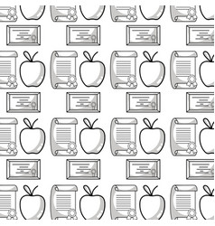 Diploma and certicate graduation with apple fruit vector